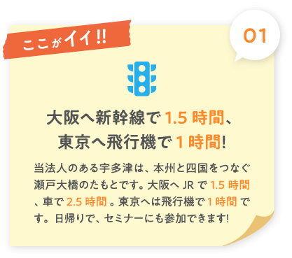 大阪へ新幹線で1.5時間、東京へ飛行機で1時間